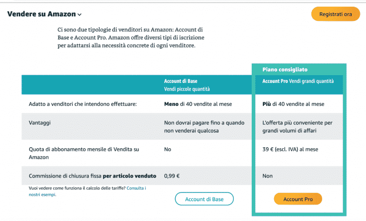Come Vendere su Amazon: Differenza tra account base e pro