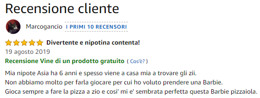 Recensione su Amazon di un recensore Amazon Vine