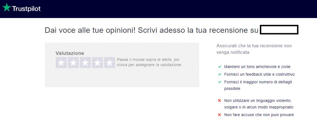 Interfaccia di inserimento recensione su Trustpilot