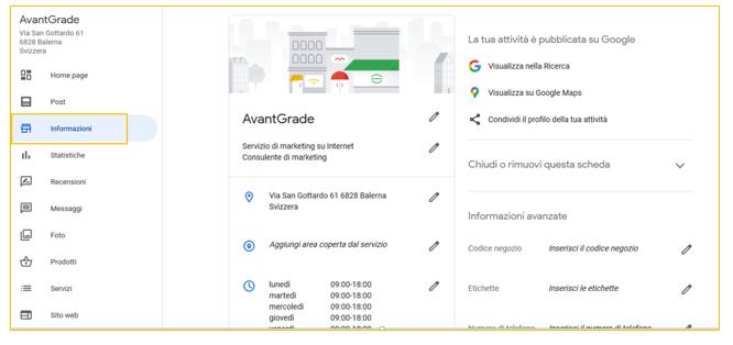 informazioni google my business