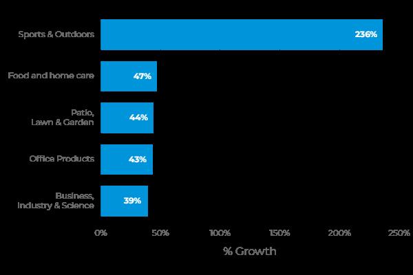 Grafico che riassume le categorie più in crescita sugli ecommerce