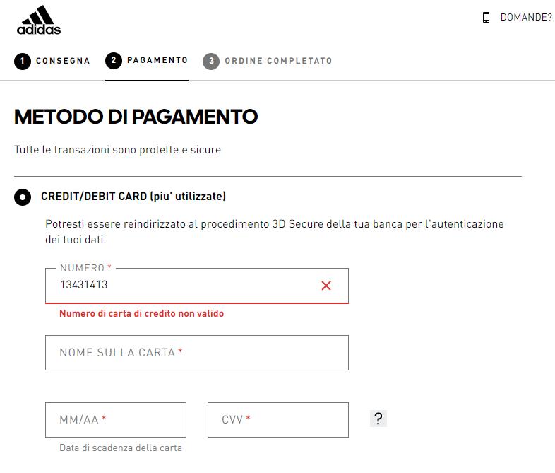Convalida del form sull'ecommerce Adidas