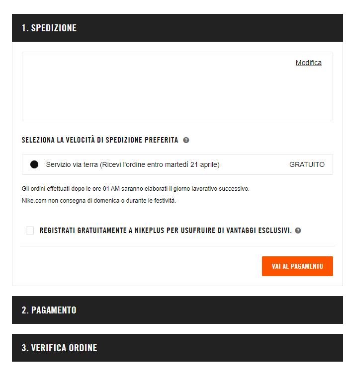 Label Chiare sul checkout di Nike