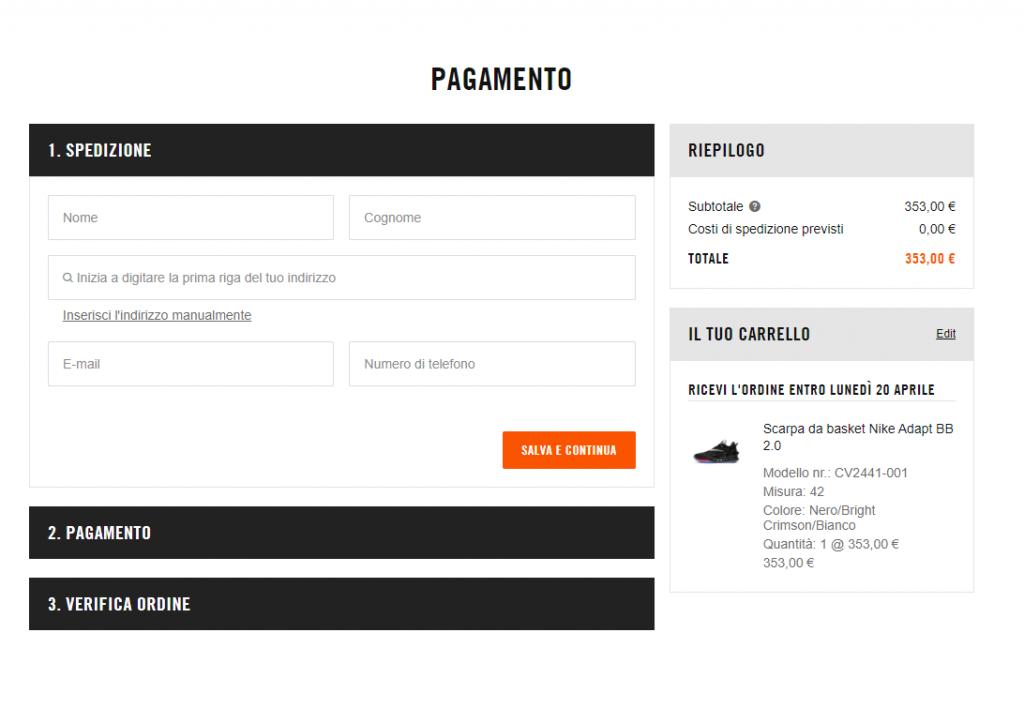 Label sul checkout di NIke per ottimizzare le conversioni