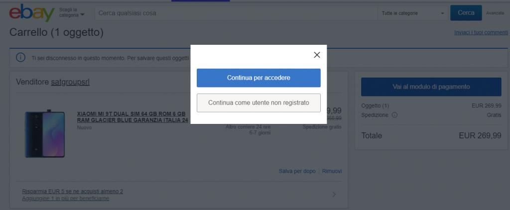 Checkout eBay con scelta per utente registrato o guest