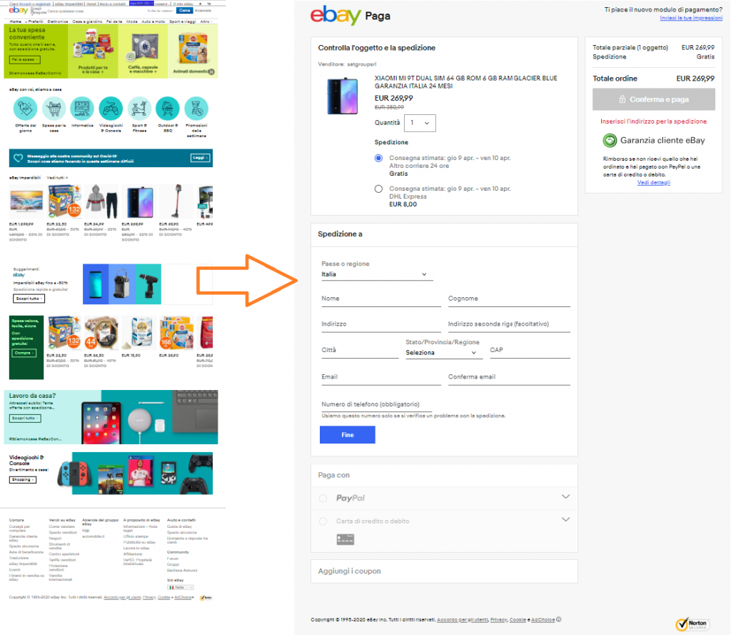 Differenza fra home page di eBay e pagina di pagamento: strategia ecommerce ottimizzata