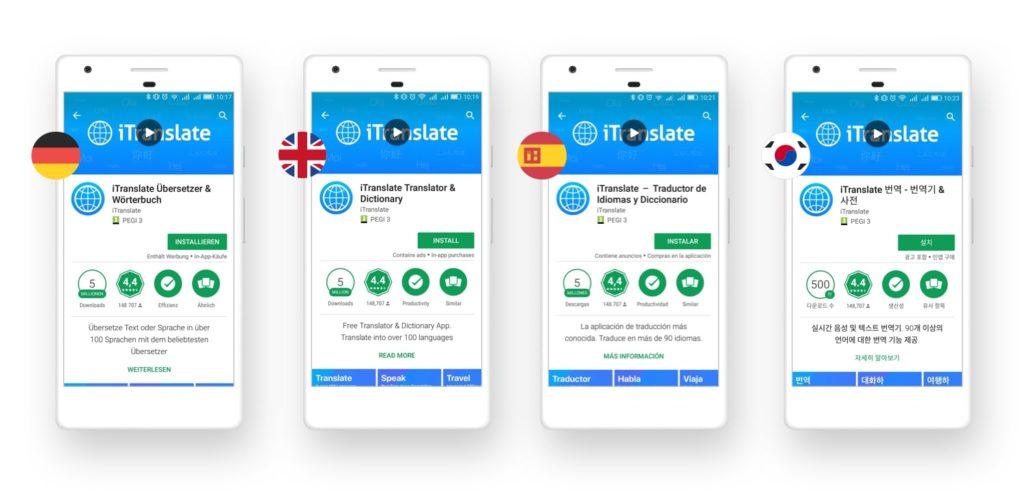 esempio di localizzazione App su App Store