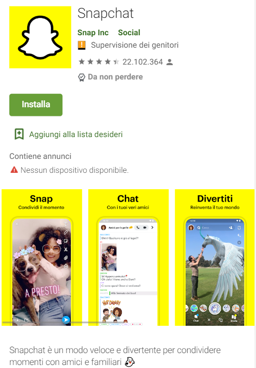 Elementi visuali dell'App Snapchat