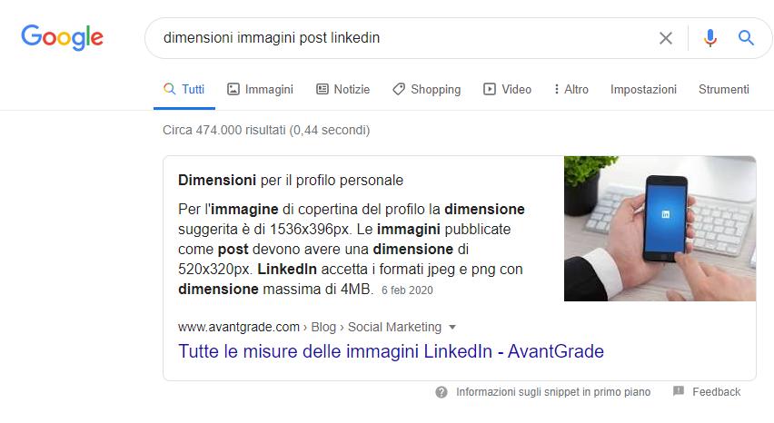 Esempio di posizione zero di un contenuto su Google
