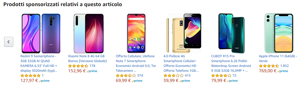 Esempio di cross-selling su eCommerce (Amazon)
