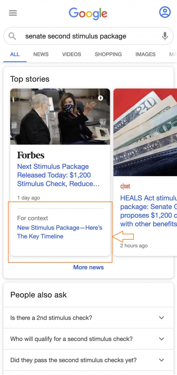 esempio di sezione for context di google news