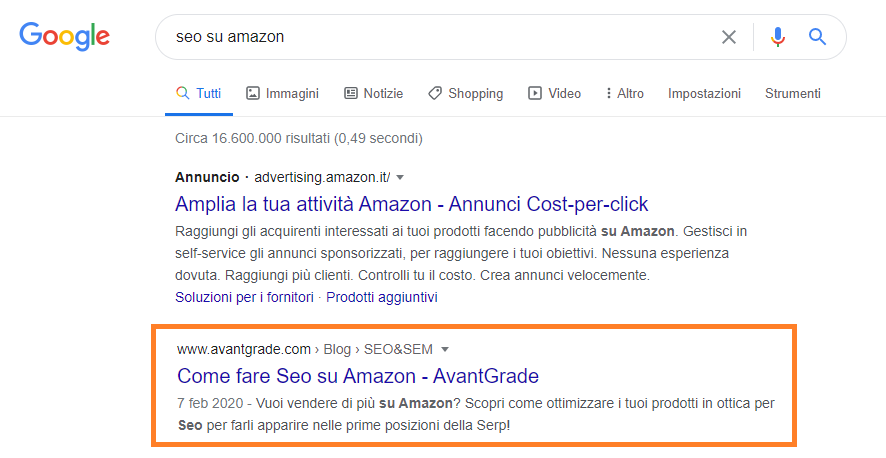 Keyword di supporto da presidiare con una keyword research
