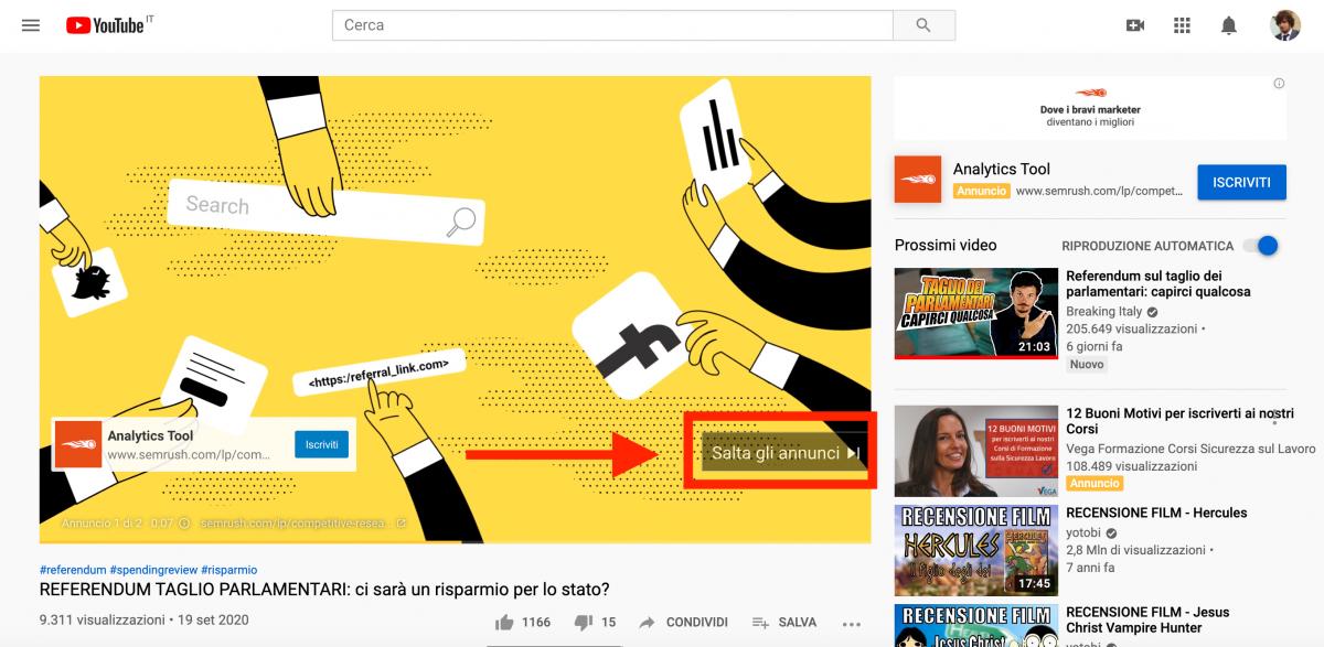 pubblicità youtube: annunci ignorabili