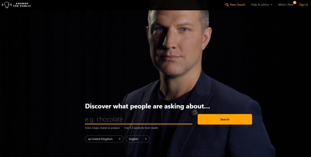 homepage di Answer the Public