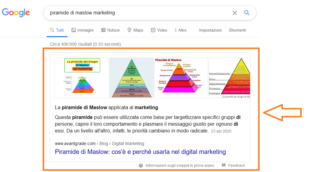 Featured snippet in Serp