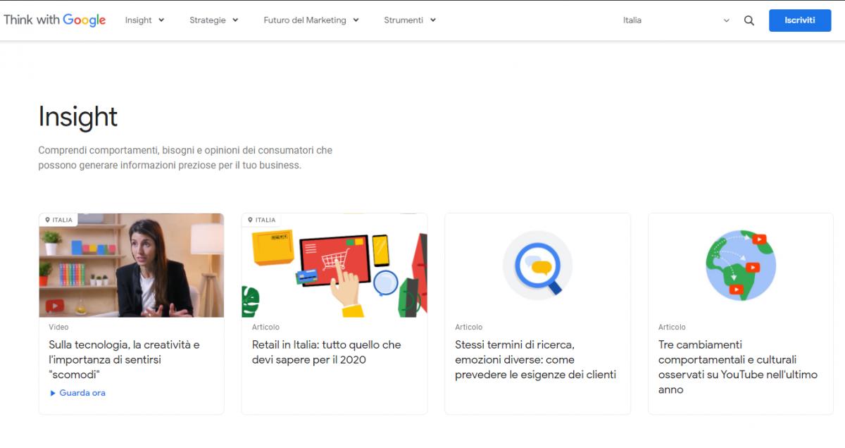 homepage di Google Insight