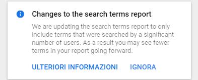 notifica di Google circa le limitazioni nel rapporto termini di ricerca