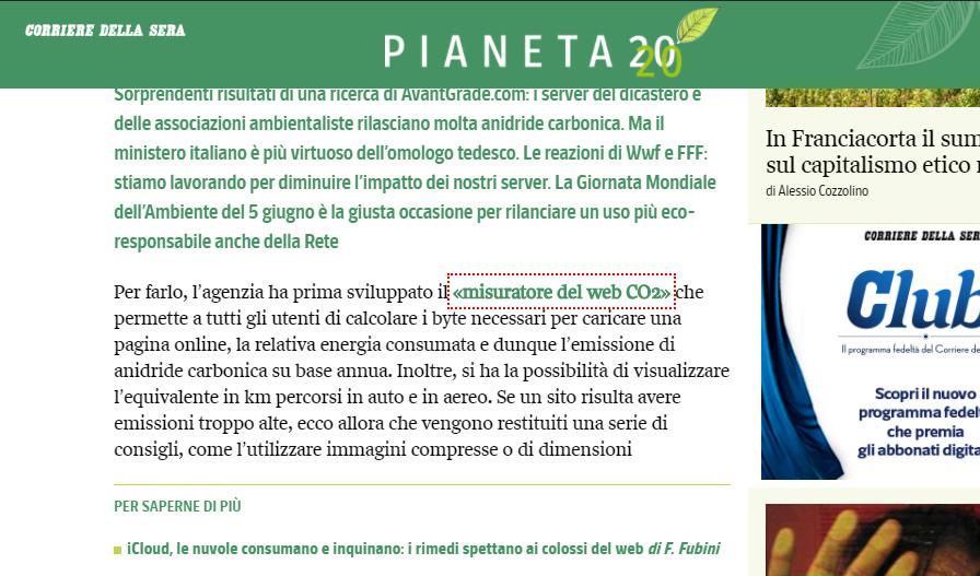 Articolo sul Corriere della Sera sul tool di misurazione del web CO2