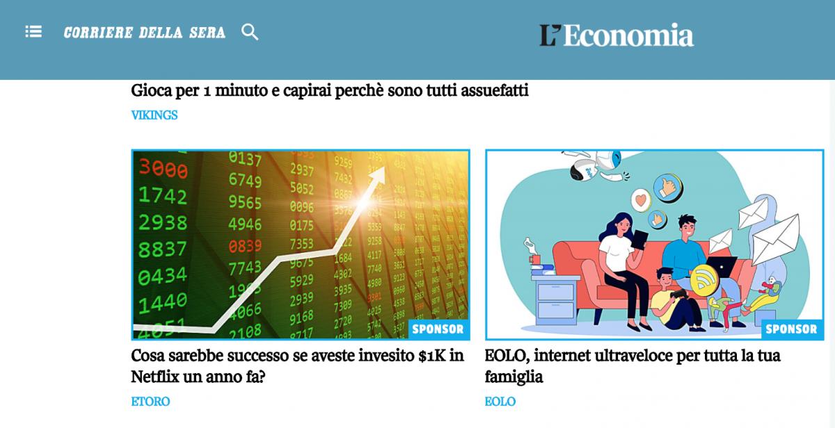 Esempio di pubblicità online: native advertising sul Corriere della Sera