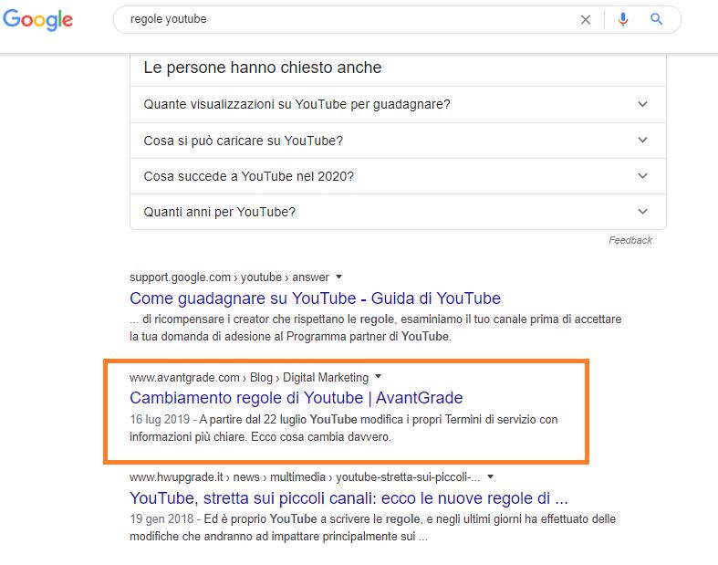 "SERP per la parola chiave ""regole youtube"""