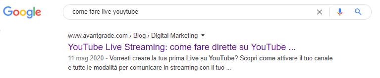 esempio di title tag tronco in SERP Google