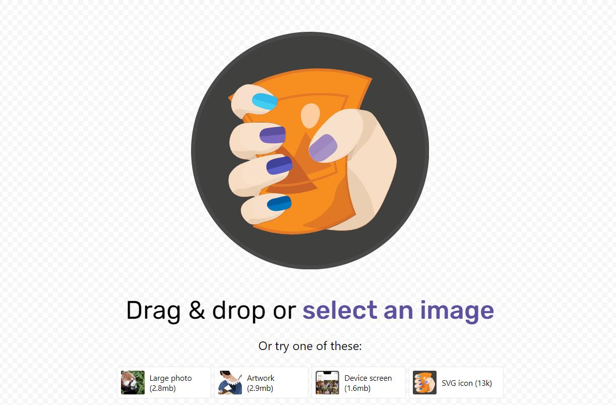Homepage dello strumento ottimizzazione immagini Squoosh