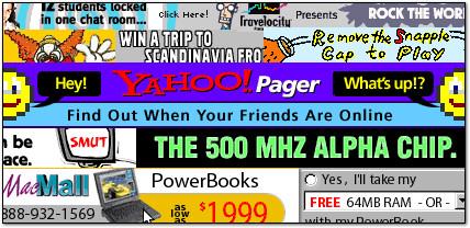Esempio di banner pubblicitario degli albori di Internet