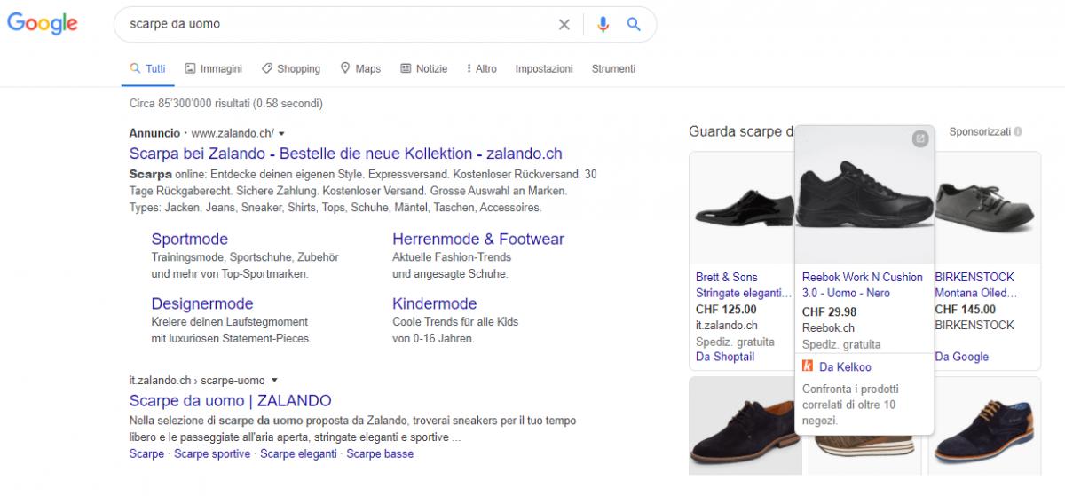 Esempio di Ads di Kelkoo su Google