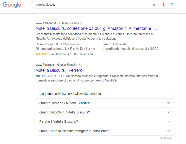 Amazon e la query unbranded nutella biscuits su google