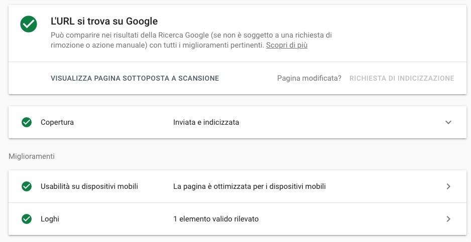 Funzione URL Inspection su Google Search Console.