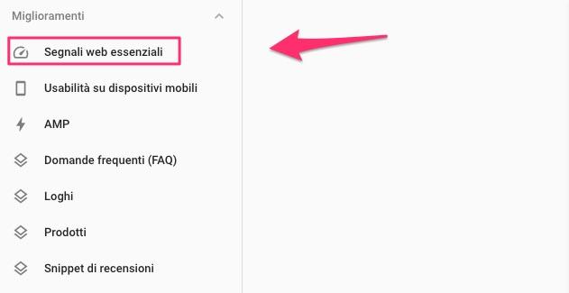 Sezione Miglioramenti di Google Search Console.