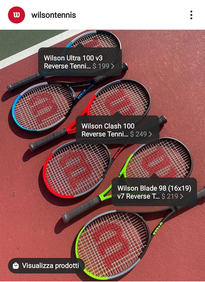 Esempio dei tag relativi a nome e prezzo del prodotto su un post della pagina Instagram di Wilson Tennis.