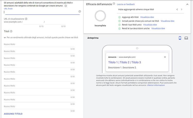 Responsive Search Ads: quali sono gli annuncia adattabili per rete di ricerca.