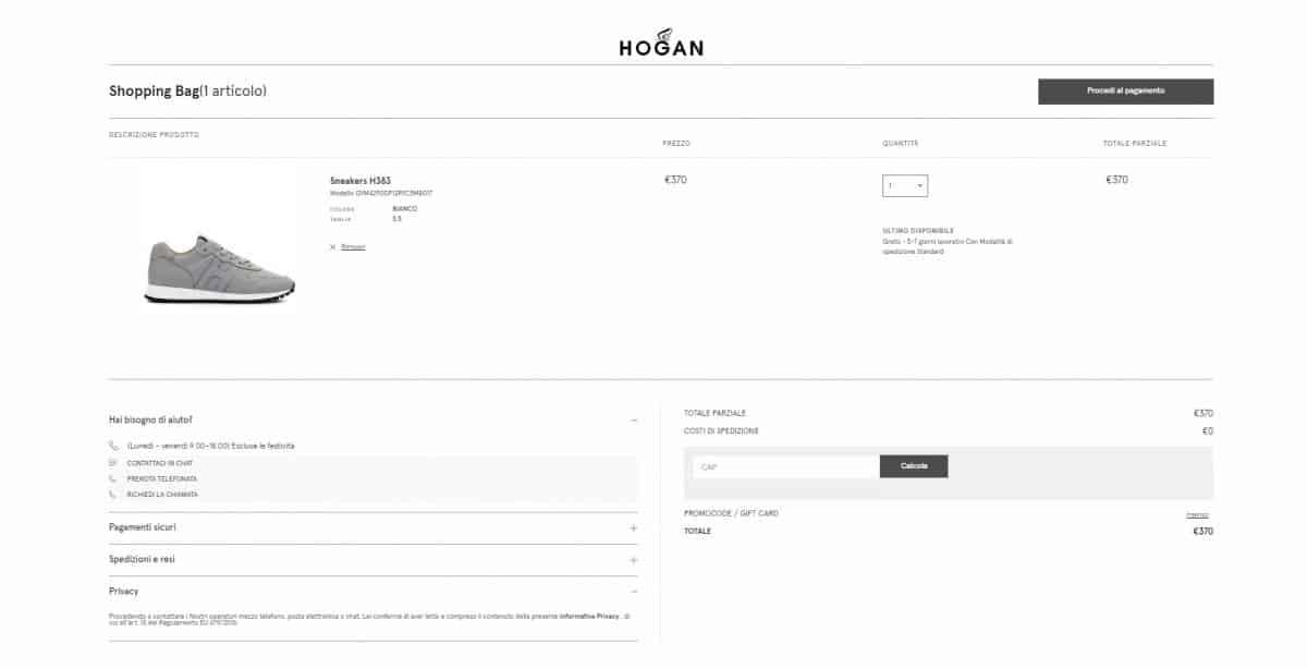 Esempio di come ottimizzare la pagina carrello: inserire le informazione essenziali e mantenere un layout coerente