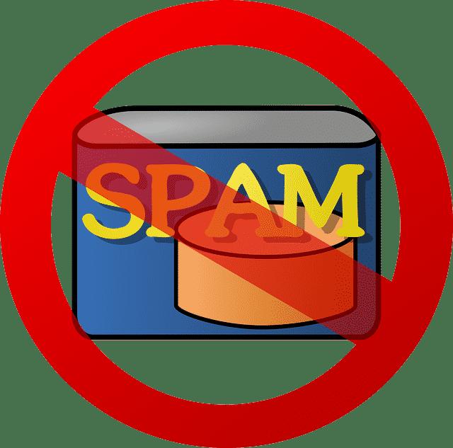 Simbolo di divieto sulla scritta spam.