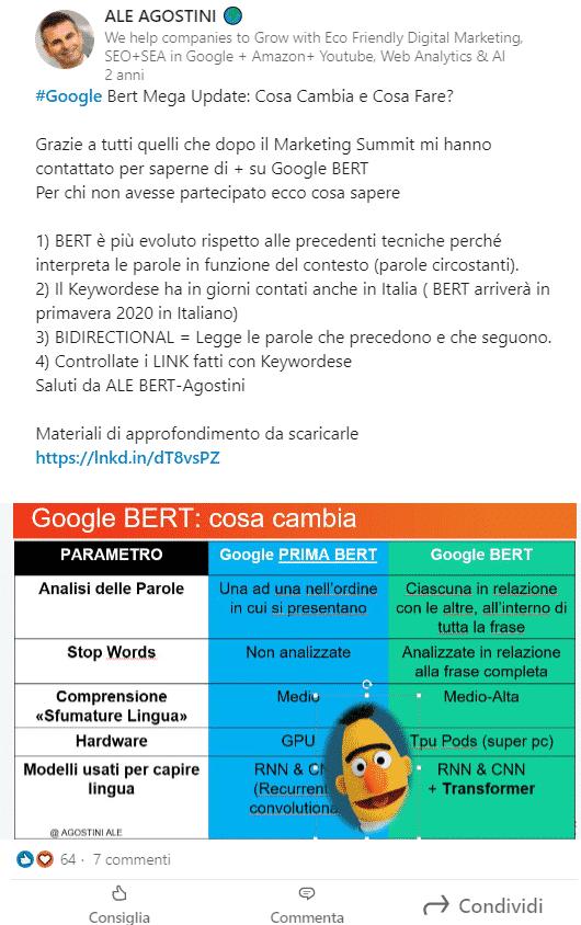 Linkedin Post di Ale Agostini su Google Bert