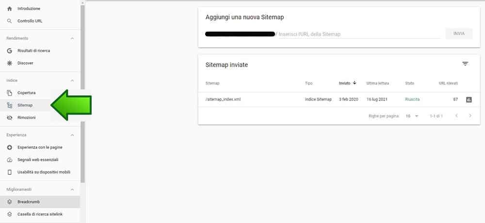 Come inviare una sitemap in Search Console