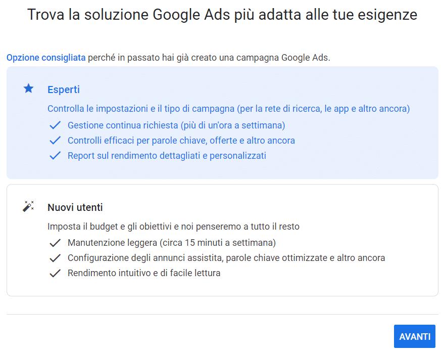 account google ads: esperti o nuovi utenti